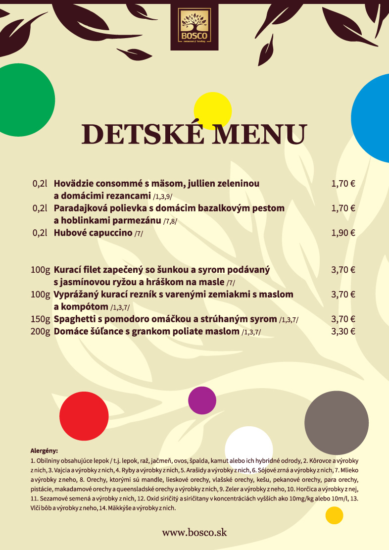 bosco detske menu